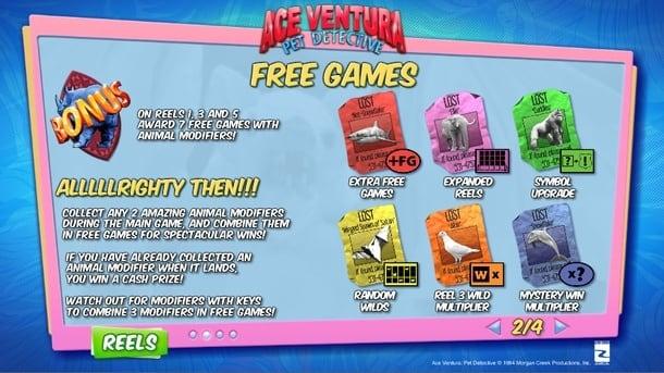 Фриспины в игровом автомате Ace Ventura