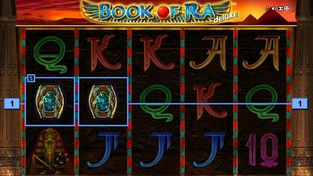 Призовая комбинация на линии в игровом автомате Book of Ra Deluxe