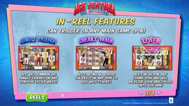 Бонусные функции в онлайн слоте Ace Ventura