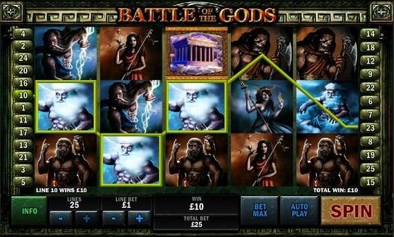 Выигрышная комбинация символов в слоте Battle of the Gods