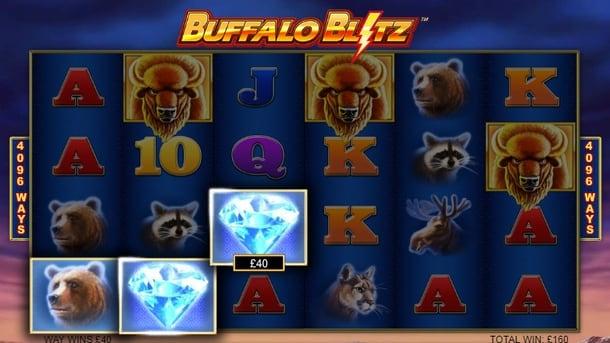 Выигрышная комбинация с диким знаком в слоте Buffalo Blitz